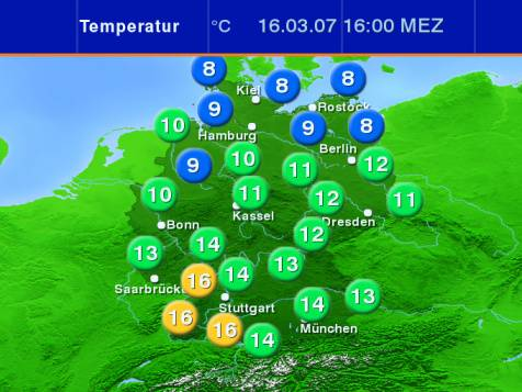 aktuelle Temperaturen in Deutschland